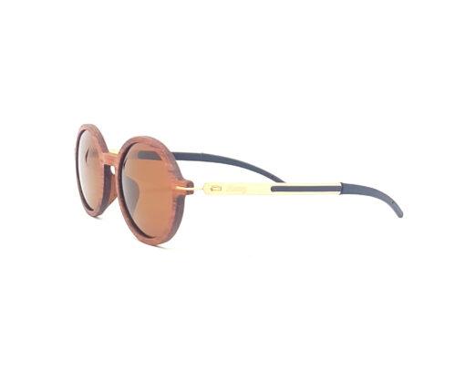 diane lunettes bois de rose verres bruns coté