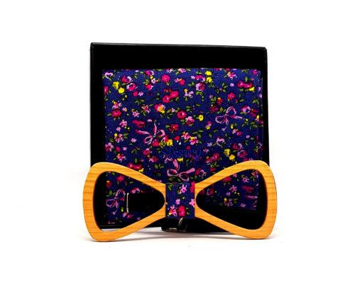 fuji noeud papillon ouvert bois cerisier fleurs jaunes et roses avec pochette de costume en coton