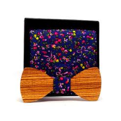 koro noeud papillon bois zebrano fleurs jaunes et roses avec pochette de costume en coton