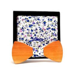 lawu noeud papillon bois sapotillier fleurs bleues et roses avec pochette de costume en coton