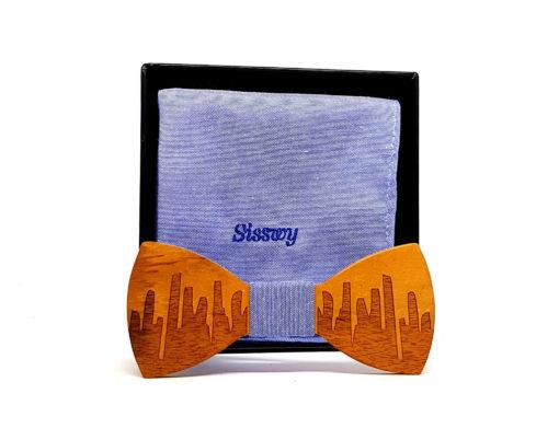 rinjani noeud papillon bois vieux teck jeans bleu clair avec pochette de costume en coton
