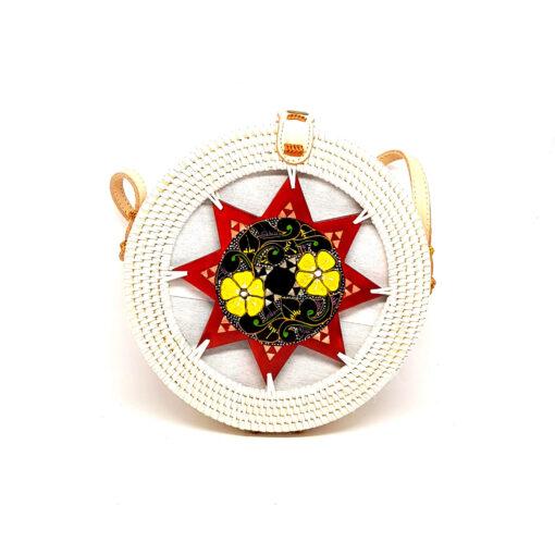 sac en rotin tressé à la main - rouge à fleurs jaunes - cuir naturel - blanc - 20cm